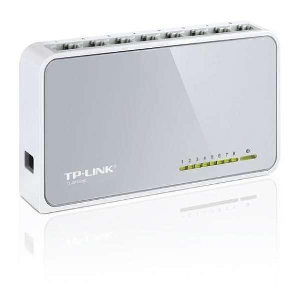 TP-Link Switch SF1008D 8Puertos Ethernet 10/100Mbps con carcasa plástica. Para uso en interiores.