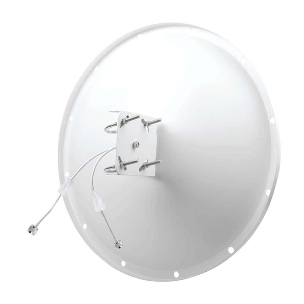 antena blanca tipo plato parabolico circular