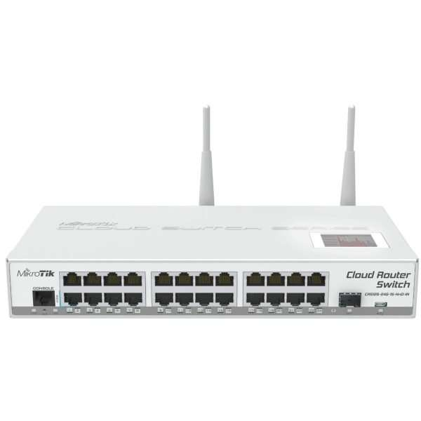 Mikrotik CRS125-24G-1S-2HnD-IN Cloud Router Switch robusto con 24 puertos gigabit, puerto SFP, Wi-Fi 2.4GHz de alta potencia, pantalla LCD y RouterOS level 5.