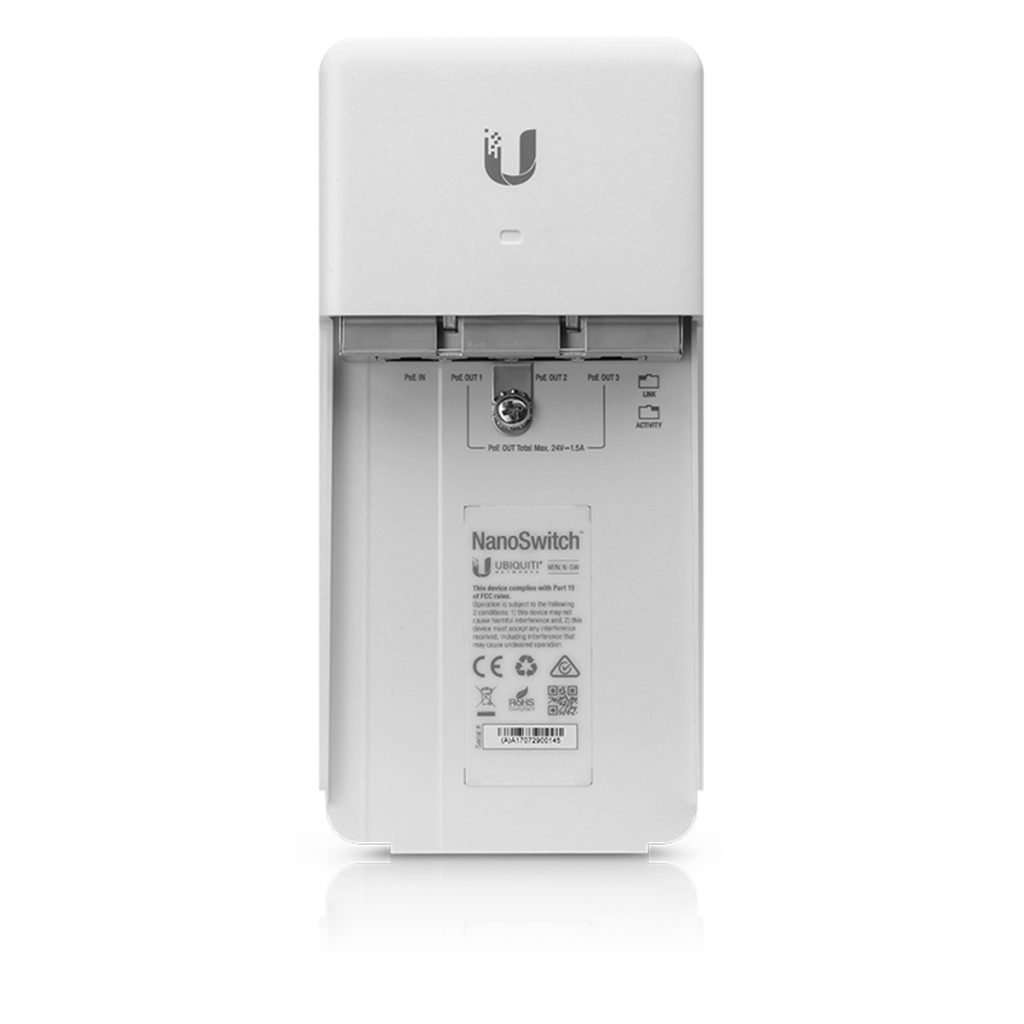 Ubiquiti N-SW Switch PoE Passthrough de 4 puertos gigabit con salida PoE de 24V 1Amp para exteriores.