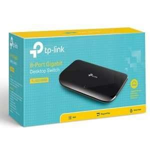 TP-Link TL-SG1008D Switch 8Puertos Gigabitcon carcasa plástica. Uso en interiores.