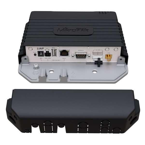 El MikroTik RBLtAP-2HnD&R11e-LTE Un punto de acceso de alta resistencia de 2.4GHz con ranura miniPCI-e adicional, tres ranuras SIM, soporte GNSS (GPS, GLONASS, BeiDou, Galileo) y módem LTE para bandas internacionales 1,2,3,7,8,20,38 y 40