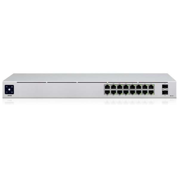Ubiquiti UniFI Switch PoE US-16-POE de segunda generación con 16 Puertos Gigabit con salida PoE y dos puertos SFP. Rackeable. Capacidad de switching de 36Gbps.