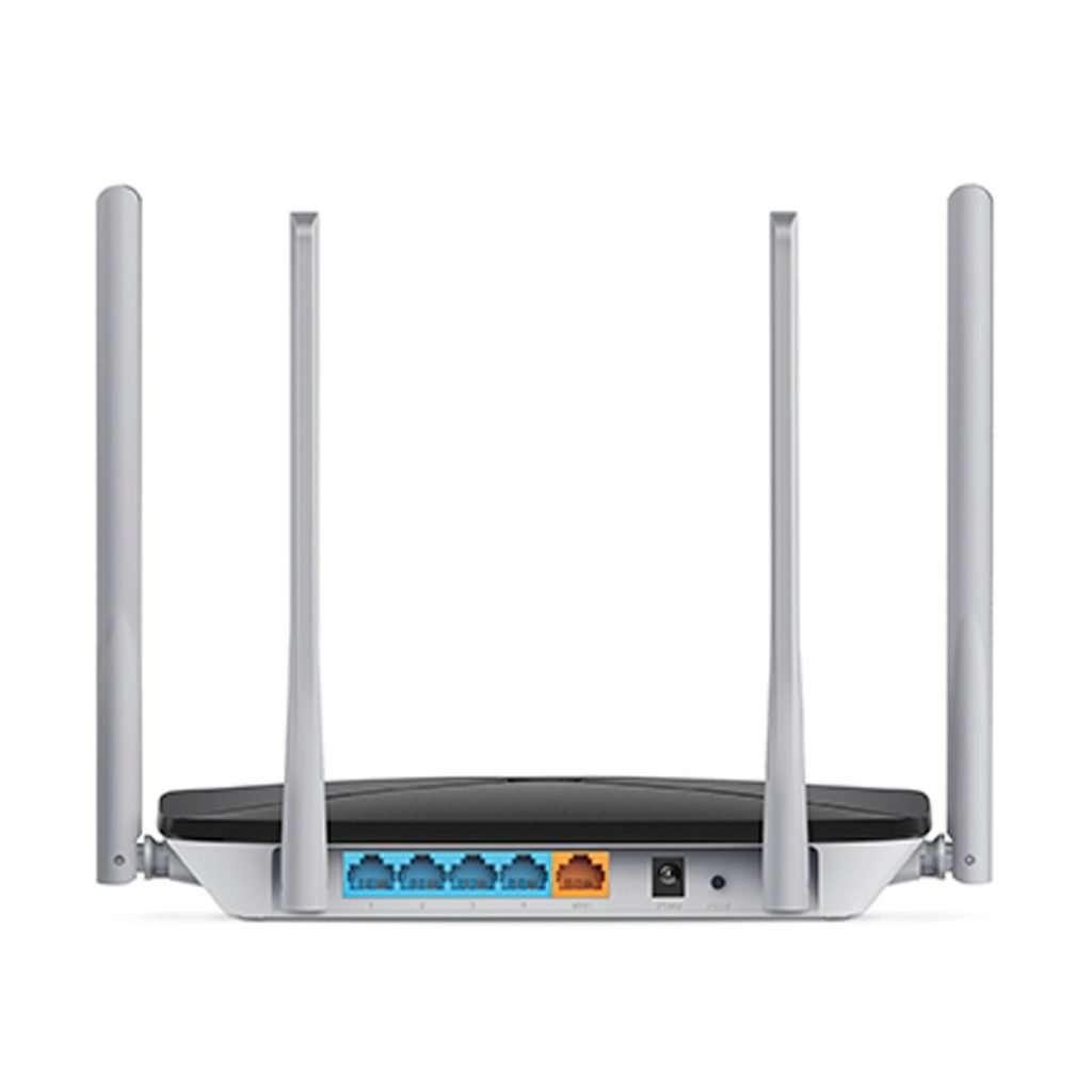 Mercusys AC12 Router Wireless AC 1200Mbps con cuatro Antenas Omnidireccionales Fijas de 5dBi en 2.4GHz y 5GHz simultáneo, diseñado para interiores.