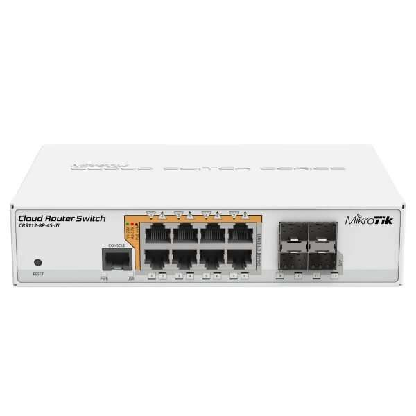 Mikrotik CRS112-8P-4S-IN Cloud Router Switch robusto con 8 puertos gigabit PoE 802.11af/at, cuatro puertos SFP, formato desktop con RouterOS level 5.