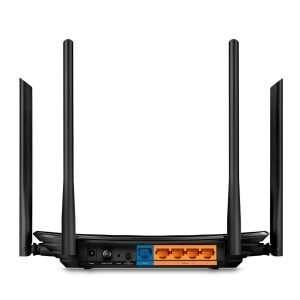 TP-Link Archer C6 Router Wireless AC 1200Mbps con cinco Antenas Omnidireccionales 4 externas Fijas de 5dBi y una interna en 2.4GHz y 5GHz simultáneo y puertos gigabit, diseñado para interiores. Soporta protocolo OpenMESH para MU-MIMO.