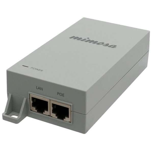 Mimosa G0566-500-120 Inyector PoE pasivo de 50W y 1.2 Amperios con puerto Gigabit 10/100/1000Mbps especialmente diseñado para el B5, B5c, B11. Incluye unidad PoE color gris, base para atornillar a muro o pared y cable de energía de 1 metro.