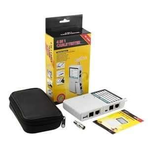 NF-3468 comprobador testeador de cables de red y conectores RJ-45 y BNC con 4 funciones en 1. Requiere batería no incluida.
