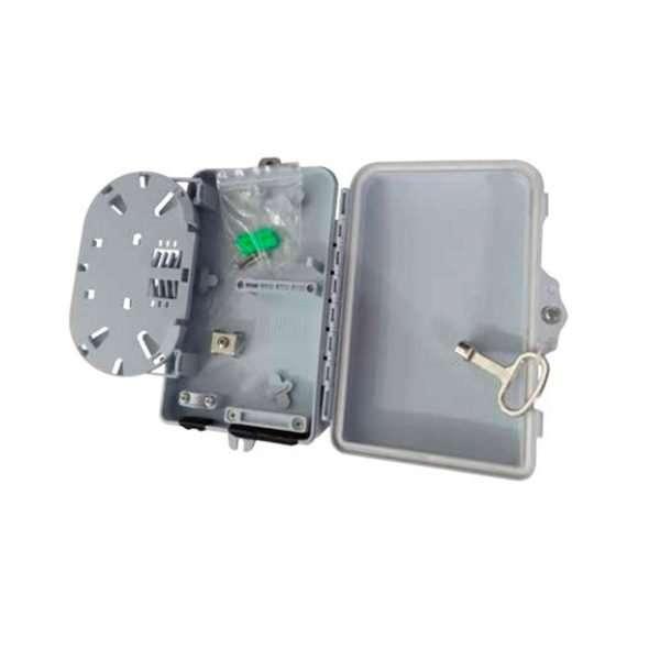 Connection CFB-8004 es una NAP de 4 Hilos para fibra óptica en infraestructura FTTX resistente IP65 exteriores para Poste color blanco.