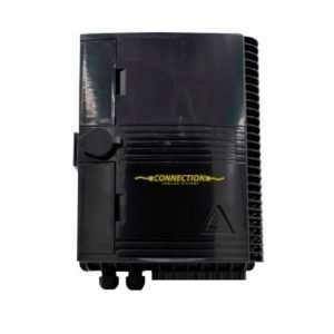 Connection CFO-4716 es una NAP de 16 Hilos para fibra óptica en infraestructura FTTX resistente IP65 exteriores para Poste color Negro.