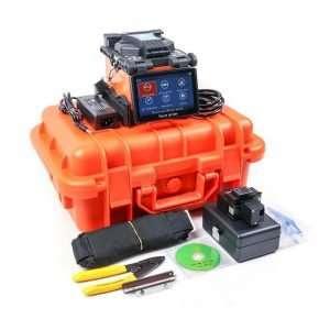 Herramienta fusionara de Fibra Optica con sus accesorios y herramientas incluido el estuche duro color naranja