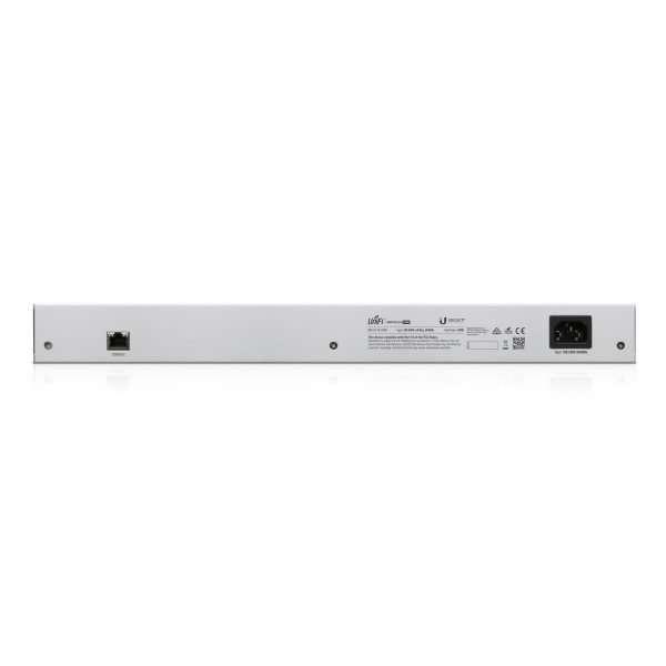 """Ubiquiti UniFi US-24-250W Switch PoE 802.3af/at mas PoE pasivo de 24V Administrable con el controller de UniFi con 24 puertos Gigabit mas 2 SFP y soporta hasta 52Gbps de capacidad de switching. Rackeable 1u 19""""."""