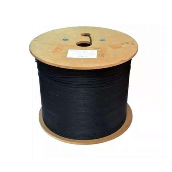 rollo de cable drop de Fibra Optica color negro en rollo de madera
