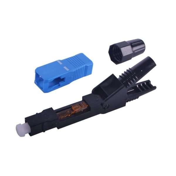 Vista desarmada de conector manual de Fibra Optica color azul con negro