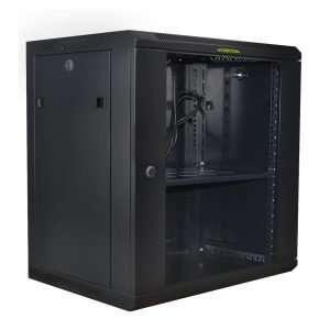 """Connection MC126045635 Soporte Rack Bastidor Gabinete cerrado de pared de 12u Rackeables de 19""""bastidor estándar con puerta de vidrio con llave, bandeja de tamaño completo y ventilador preinstalado, fabricada en metal color Negro. No incluye accesorios."""