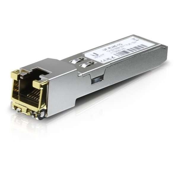 Ubiquiti UF-RJ45-1G es un módulo SFP que soporta velocidades hasta 1Gbps para habilitar un puerto SFP como puerto LAN de cobre gigabit RJ45. Si te has quedado corto de puertos LAN en tu EdgeRouter o EdgeSwitch y tienes disponible un puerto SFP esta es lasolución.