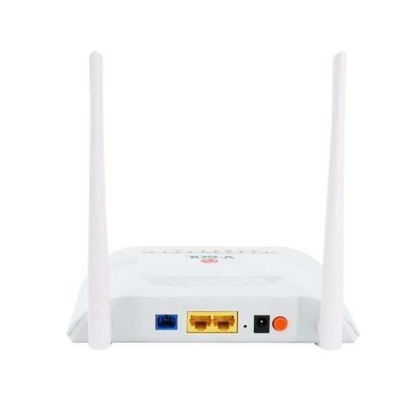 V-SOL V2802GW ONU EPON y GPON con un puerto gigabit + 1 puerto ethernet 10/100 + Wi-Fi doble antena de 2.4GHz con conector SC/UPC para clientes de alta capacidad de hasta 20km compatible con todas las marcas.
