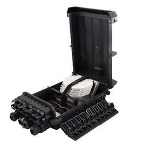 Connection CFO-5416 es una caja NAP de 16 Hilos vacía para fibra óptica en infraestructura FTTH GPON resistente IP68 exteriores para poste color Negro.