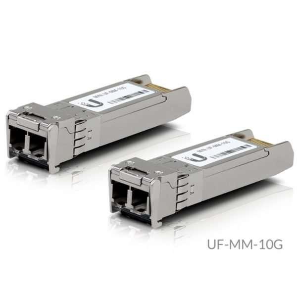 Ubiquiti UF-MM-10G es un módulo SFP+ que soporta velocidades hasta 10 Gbps para enlaces ascendentes de fibra óptica multimodo 850nm hasta 300 metros.