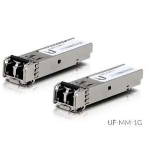 Ubiquiti UF-MM-1G es un módulo SFP que soporta velocidades hasta 1.25 Gbps para enlaces ascendentes de fibra óptica multimodo 850nm hasta 550 metros.