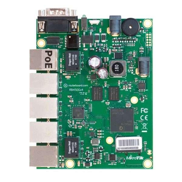 MikroTik RB450Gx4 RouterBOARD tiene 5 puertos Gigabit con un poderoso CPU de 4 núcleos de 716MHz y 1GB RAM, dispone de una ranura microSD.