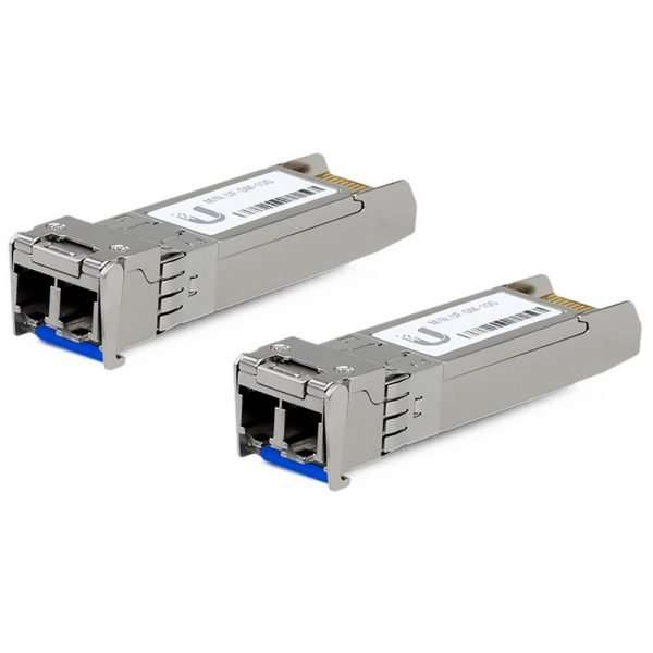 Ubiquiti UF-SM-10G es un módulo SFP+ que soporta velocidades hasta 10 Gbps para enlaces ascendentes de fibra óptica monomodo 1310nm hasta 10 Kilómetros.
